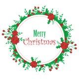 Mistletoe and poinsettia wreath Christmas card Stock Photos