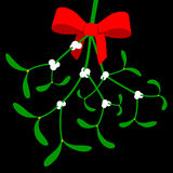 Mistletoe with red bow. On black stock illustration