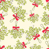 Mistletoe seamless pattern. Vector Christmas seamless pattern with branches of mistletoe. For fabric, wrapping paper, print and web projects. Greeting card Stock Images
