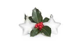 Mistletoe and stars. Christmas stars and mistletoe plant Stock Image