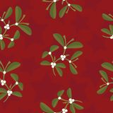 Mistletoe and stars pattern Stock Images