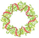Mistletoe wreath isolated on white Royalty Free Stock Photography