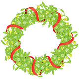 Mistletoe wreath with red ribbon and snowflakes Stock Image