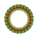 Mistletoe wreath . Traditional Christmas decoration. Fes. Tive red berry with green leaves Royalty Free Stock Photography