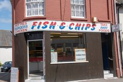Traditional English Fish and Chip Takeaway shop. Mistley Essex UK - 18 May 2018: Traditional English Fish and Chip Takeaway shop royalty free stock photography