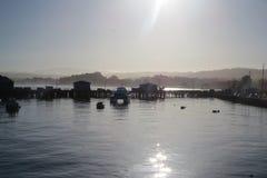 Mistlicht bij Monterey-pijler Royalty-vrije Stock Afbeeldingen