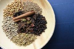 Misto delle spezie e delle erbe in un cucchiaio Fotografia Stock