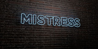 MISTRESS -Realistic Neon Sign on Brick Wall background - 3D rendered royalty free stock image Stock Photo