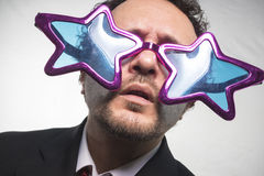 Mistrz, biznesmen z szkło gwiazd, szalonego i śmiesznego achiev, Obrazy Stock