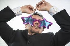 Mistrz, biznesmen z szkło gwiazd, szalonego i śmiesznego achiev, Zdjęcia Royalty Free