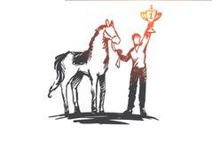 Mistrz, horseback jazda, rywalizacja, sport, biegowy pojęcie Ręka rysujący odosobniony wektor ilustracji