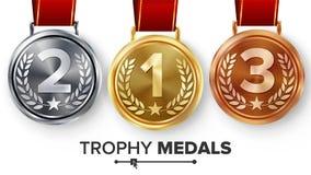 Mistrza medal Ustawiający wektor Metalu Realistyczny Pierwszy, Drugi Trzeci plasowania osiągnięcie Round medale Z Czerwonym fabor ilustracja wektor
