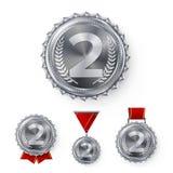 Mistrza srebrny medal Ustawiający wektor Metalu plasowania zwycięzcy Realistyczny 2nd osiągnięcie numer dwa Round medal Z rewoluc Obraz Stock