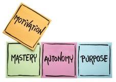 Mistrzostwo, autonomia, purpose - motywaci pojęcie fotografia stock