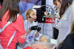 Mistrzowska klasa na stałym makijażu akademia spojrzenie projekt Zdjęcia Royalty Free