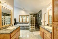 Mistrzowski łazienki wnętrze z dachówkową podłoga i nowożytnymi gabinetami obraz royalty free