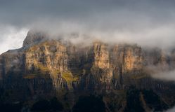 Mists and light on Ordesa walls Stock Photography