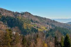 Beautiful morning autumnal mountain landscape. royalty free stock image