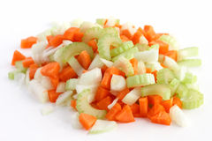 Mistura clássica de cenouras, de aipo e de cebola desbastados toda acima Imagem de Stock Royalty Free