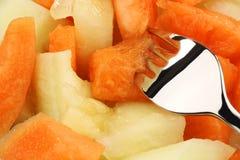 Mistura colorida de partes deliciosas do melão Fotos de Stock
