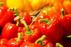 Mistura colorida de pimenta de sino fresca vermelha, alaranjada, amarela diferente no mercado fotos de stock