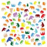 Mistura colorida dos elefantes Fotos de Stock