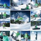 Mistura da snowboarding Foto de Stock Royalty Free
