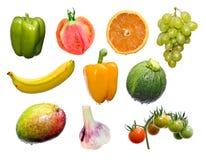Mistura das frutas e verdura Fotografia de Stock