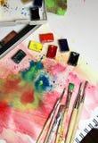 Mistura de aquarelas e de pincéis Foto de Stock Royalty Free