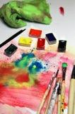 Mistura de aquarelas e de pincéis Imagens de Stock Royalty Free