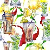 Mistura de bebida do partido da barra dos cocktail do verão Desenho de esboço isolado clube noturno do ícone Teste padrão sem eme Fotografia de Stock Royalty Free