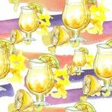 Mistura de bebida do partido da barra dos cocktail do verão Desenho de esboço isolado clube noturno do ícone Teste padrão sem eme Imagens de Stock Royalty Free