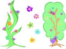 Mistura de duas árvores e flores Fotos de Stock Royalty Free