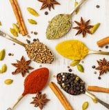 Mistura de especiarias indianas nas colheres na tabela de madeira branca, vista superior imagens de stock royalty free