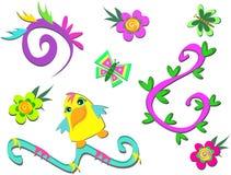 Mistura de espirais, de plantas, de flores, e de pato Imagem de Stock Royalty Free