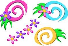 Mistura de espirais e de flores Fotografia de Stock