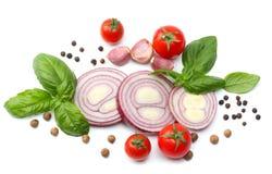 mistura de fatia de tomate, de folha da manjericão, de alho e de especiarias no fundo branco Vista superior Imagens de Stock Royalty Free