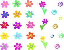 Mistura de flores e de espirais Imagens de Stock Royalty Free