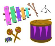 Mistura de instrumentos de percussão Fotografia de Stock Royalty Free