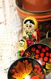 Mistura de lembranças tradicionais do russo Foto de Stock