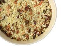 Mistura de sopa tingida de arroz e de vegetais Fotografia de Stock