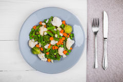 Mistura deliciosa de vegetais na placa Vista de acima Fotografia de Stock Royalty Free