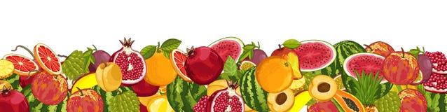 Mistura do fruto com as folhas no fundo branco Imagens de Stock Royalty Free