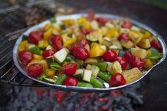 Mistura vegetal preparada em uma grade Imagens de Stock