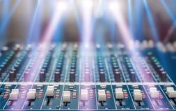 Misturador audio, equipamento da música Fotografia de Stock Royalty Free