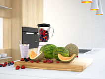 Misturador com frutos diferentes para um batido rendição 3d Imagens de Stock