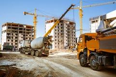 Misturador concreto e a bomba concreta Imagens de Stock