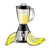 Misturador da cozinha da cor de desenho com suco das bananas Fotos de Stock