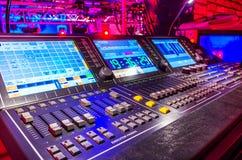 Misturador sadio audio com botões e slideres foto de stock royalty free