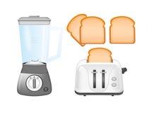 Misturador, torradeira e pão ilustração royalty free
